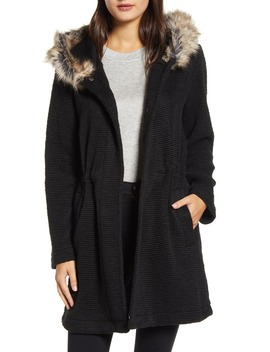 Hooded Coat With Faux Fur Trim by Bb Dakota