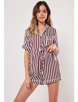 Burgundy Striped Satin Drawstring Bag Short Sleeve Pyjama Set by Missguided