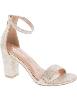 Top Moda Womens Hannah 1 Platform Chunky Heel Metallic Glitter Party Ankle Strap High Heel Sandal by Top Moda