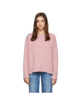 Pink Cable Crewneck Sweater by Loewe