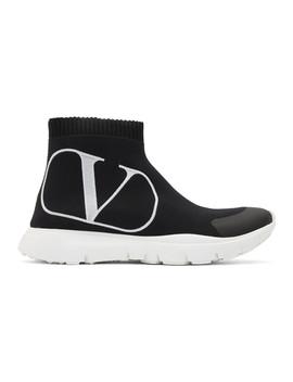 Black Valentino Garavani V Logo Sock Sneakers by Valentino