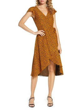 Leopard Print Wrap Midi Dress by Bb Dakota
