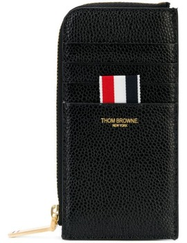 Black Half Zip Around Wallet In Pebble Grain by Thom Browne