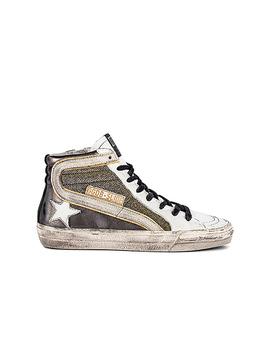 Slide Sneaker In Gun Metal, Shimmer & White by Golden Goose