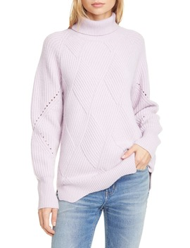 Basket Weave Turtleneck Sweater by Rebecca Taylor