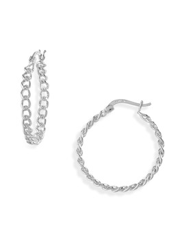 Large Curb Chain Hoop Earrings by Argento Vivo