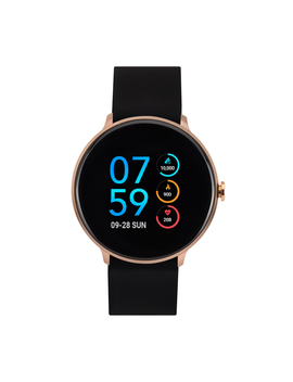 I Touch Sport Silicone Strap Smartwatch With Pedometer   Black/Rose Gold by I Touch