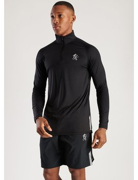 Gk Sport Rush 1/4 Zip Funnel Neck   Black by The Gym King