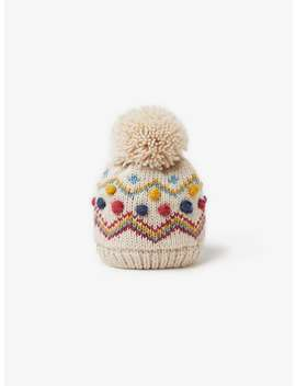 Knit Hat With Embroidered Bobbles by Zara