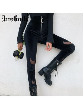 Ins Goth Black High Waist Pencil Pants Women Gothic Streetwear Moon Hollow Out Zipper Velour Stretch Bodycon Pants Long Trousers by Ali Express.Com