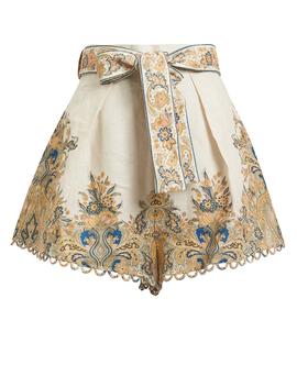 Freja Paisley Linen Shorts by Zimmermann