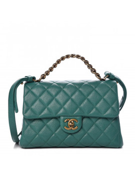 Chanel Shiny Sheepskin Quilted Small Trapezio Flap Green by Chanel