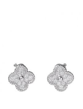 Van Cleef & Arpels 18 K White Gold Diamond Vintage Alhambra French Clip Earrings by Van Cleef & Arpels