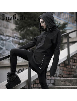 Ins Goth Women Hoodies Gothic Punk Streetwear Hooded Sweartshirt Casual Long Pullover Female Black Loose Long Sleeve Hoodie by Ali Express.Com