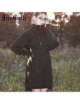 Ins Goth Women Long Hoodies Sweatshirt Harujuku Loose Gothic Black Hooded Hollow Out Sexy Lace Up Patchwork Female Punk Hoodies by Ali Express.Com