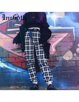 Ins Goth Streetwear Casual Plaid Pants Women Gothic Punk Loose High Waist Harem Pants Buckle Belts Harajuku Female Long Trousers by Ali Express.Com