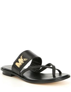 Michael Michael Kors Sidney Leather Logo Flat Sandals by Michael Michael Kors