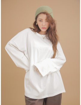 Single Tone Side Slit Oversized T Shirt by Stylenanda