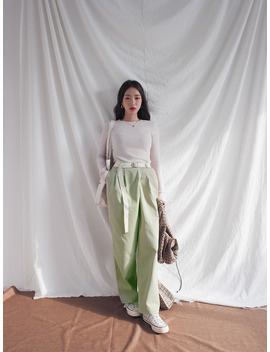 Front Pleat Belted Pants by Stylenanda
