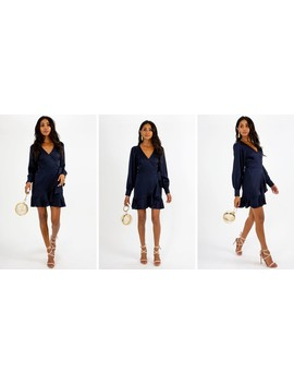 Bobbi Wrap Satin Navy Dress by Style Cheat
