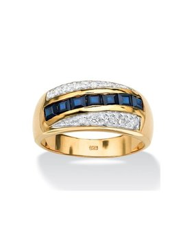 Men's 1.95 Tcw Genuine Blue Sapphire And Pave Style Cubic Zirconia Ring In 18k Gold Over Sterling Silver by Palm Beach Jewelry