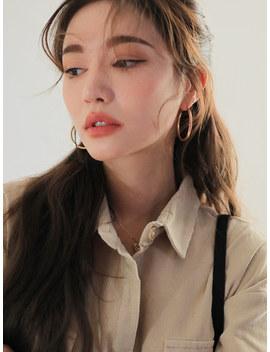 Omega Back Glossy Hoop Earrings by Stylenanda