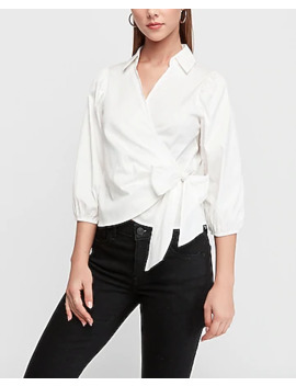 Pleated Wrap Front Tie Top by Express