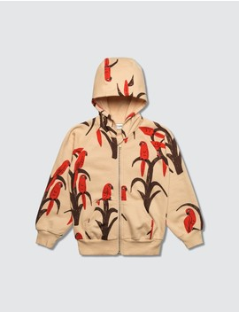 Parrot Aop Zip Hoodie by Mini Rodini