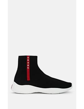 Men's Logo Knit Sneakers by Prada