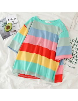 Us Harajuku Women Rainbow Striped Tops Short Sleeve Blouses Casual Loose T Shirt by Unbranded