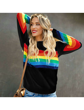 Women Sweatshirt Casual Shirt Long Sleeve Tee Rainbow Striped T Shirt Blouse Top by Unbranded