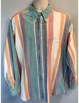 Nautica Vtg Style Mens Large L Sailing Color Block Striped Button Down Shirt 90s by Nautica