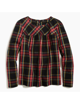 Tartan Puff Sleeve Top In Stretch Poplin by J.Crew