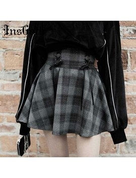 Ins Goth Winter Autumn Women Plaid Pleated Skirts High Waist Lace Mini Party Lady Skirts Gothic Elegant Pleated Short Skirts by Ali Express.Com