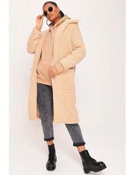Stone Long Line Shaggy Fleece Jacket by I Saw It First