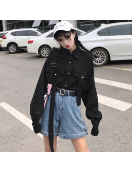 Harajuku Women Shirts Vintage Gothic Japanese Punk Style Street Long Sleeve Tops Korean Black Hip Hop Darkness Female Blouse by Ali Express.Com