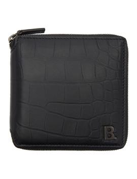 Black Croc Square Wallet by Balenciaga