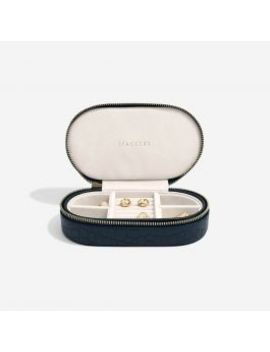 Navy Croc Oval Travel Box by Stackers