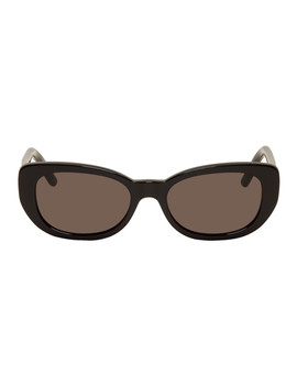 Black Oval Betty Sunglasses by Saint Laurent