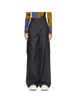 Navy Denim Cargo Jeans by Sunnei