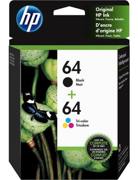 64 Ink Cartridges   2 Pack Standard Capacity   Black/ Multicolor by Hp