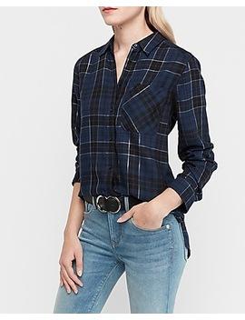 Supersoft Blue Metallic Plaid Boyfriend Flannel Shirt by Express