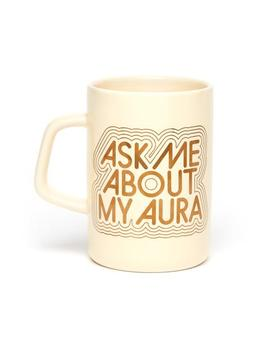 Hot Stuff Big Ceramic Mug   Ask Me About My Aura by Ban.Do