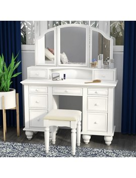 Anthonyson Transitional Vanity Set With Stool And Mirror by Joss & Main