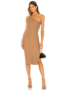Jackie Midi Dress In Taupe Brown by Lovers + Friends