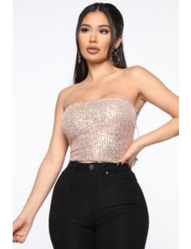 Shimmy And Shake Sequin Crop Top   Rose Gold by Fashion Nova