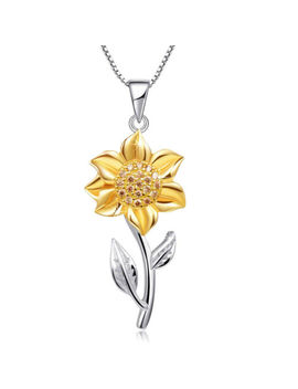 Charm Zircon Rhinestone Sunflower With Leaf Pendant Chains Ladies Necklace by Unbranded