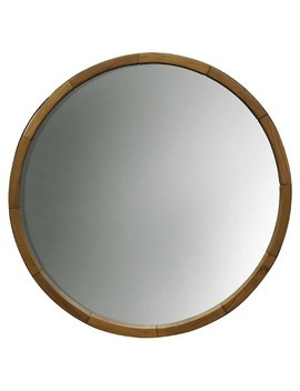 Round Decorative Wall Mirror Wood Barrel Frame   Threshold™ by Shop Collections