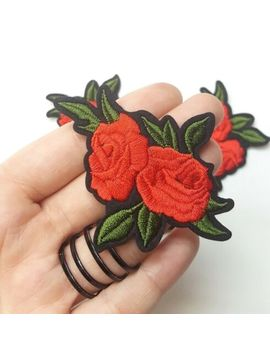 Small Embroidered Red Rose With Leaf, Iron On/Sew On Embroidered Patch Applique by Unbranded