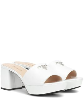 White Platform 65 Patent Leather Mules by Prada